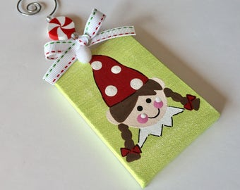 Hand painted & personalized 3x3 elf ornament