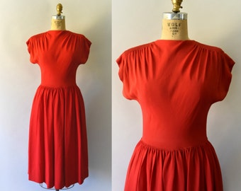 1940s Vintage Dress - 40s Red Rayon Dress