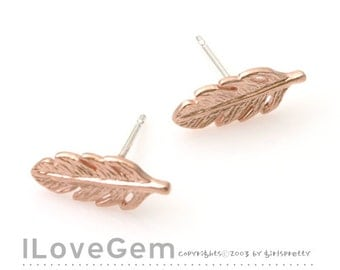 SALE / 10 pcs / NP-1727 Matt Rose Gold plated, mini Feather, Earrings, 925 sterling silver post