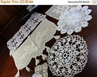 7 Assorted Crochet Doilies - Vintage Knit Doily, Ecru Lot 12763