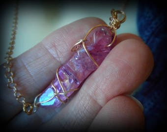 Pink Rose Purple Aura Quartz Crystal Necklace Pendant Metaphysical