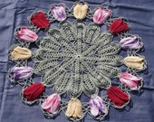 Vintage Lace Crochet Tulips Floral Doily