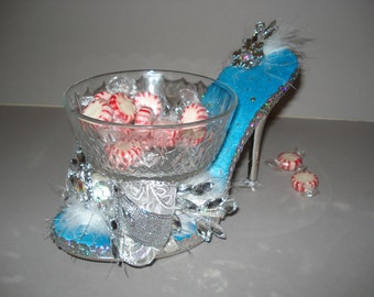 Winter wonderland holiday high heel candy dish