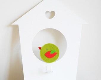 Birdhouse wall hook. Green bird. Bird kids decor. Scandinavian style. Baby wall hanger. Nursery decor. Wall hook for kids. Baby wall decor.
