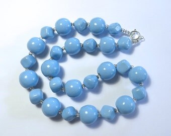 Blue Kazuri Beaded Necklace, Statement Necklace, Fair Trade, Ceramic Necklace