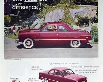Red Ford Sedan Car 1949 Magazine Print Page Ad, New Ford In Your Future, Automotive Wall Art, Garage Art, Man Cave Art, Antique Car Ad
