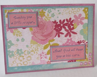Sending You A Little Prayer Christian Praying For You Card With Pink Flowers