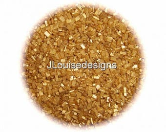 GOLD SUGAR CRYSTALS Edible Sprinkles Cake Confetti Cake Pop Cookie Decorations 2 oz.