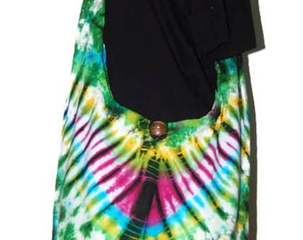 Crossbody Buddha Multicolour Tie Dye Bag, Purse Sling Messenger  Hobo Hippie no 9