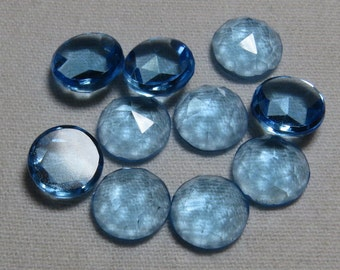 Sky Blue Topaz Color - QUARTZ - Men Made Stone  - So Gorgeous Nice Color Super Sparkle Rose Cut Cabochon  size 9x9 mm - 10 pcs