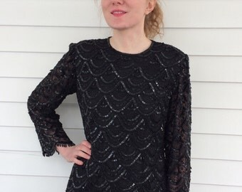 Black Beaded Blouse Vintage 80s Candlelight Silk Evening Top XS