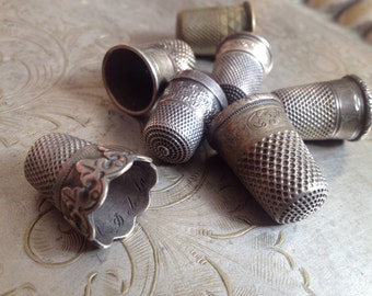 Vintage Silver Thimbles Collection - antique thimble, massive solid silver, sterling