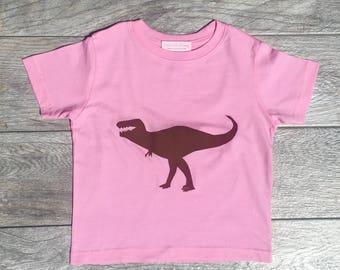 Kids - Dinosaur - Pink Dino - Toddler T-Shirt or Baby Onesie