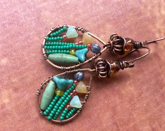 Bohemian Bouquet earrings - boho verdigris patina, Czech flowers , Picasso glass ,  circle, ring , metalwork artisan , delicate oval hoops