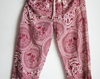 Red Elephant Printed Rayon Harem Pants /Gypsy Pants/Aladdin Pants/Genie Pants/Yoga Pants /Thai Pants