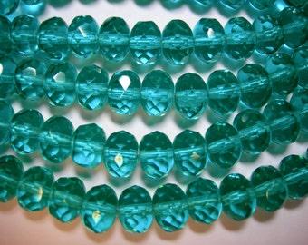 25 8x6mm Sparkling Teal Czech glass Rondelle beads