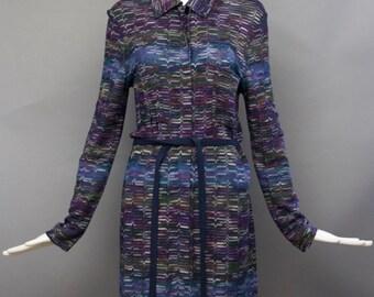 90s MISSONI signature knit blue zig zag shirt DRESS w/ self belt M vintage 1990s