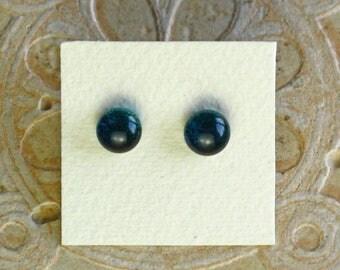 Dichroic Glass Earrings, Deep Aqua Marine DGE-993