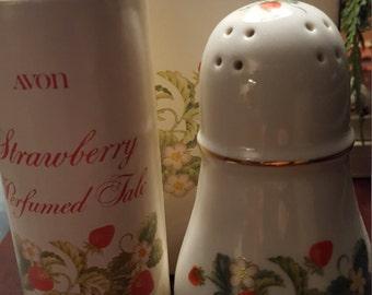 1979 Avon Strawberry Porcelain Sugar Shaker with Strawberry Perfumed Talc