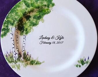Wedding Guest Book Alternative - Wedding Plate - Signature Plate Guest Book - Custom Guest Book -  Guestbook Birch Trees