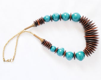 Kazuri Bead Teal Necklace - Fair Trade African Jewelry - Statement Necklace - Upcycled Necklace - Wood Necklace - Ethical Jewelry