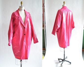 Vintage 1980s BUBBLEGUM pink vinyl raincoat