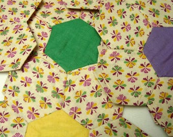 Flower Garden Quilt Blocks 8 Vintage Paper Pieced Blocks Purple Green Yellow White
