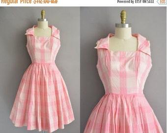 25% off SHOP SALE... 50s pink plaid cotton vintage full skirt dress / vintage 1950s dress