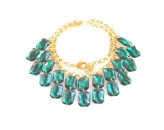 Crystal Chandelier Green Emerald Wedding Necklaces, bridal bridesmaid statement necklace, Bride Gift, green wedding vintage style jewelry