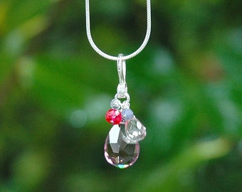 NEW Grape Quartz Teardrop Necklace / Pendant / Sterling Silver / Gemstone / Iolite / Pink Quartz / Purple / Mothers Day Gift / OOAK