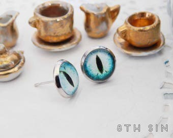Antique Silver and Blue Dragon Eye Stud Earrings, Blue Dragon Eye Earrings, Silver Dragon Eye Earrings, Sapphire Dragon Eye Earrings