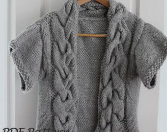 KNITTING PATTERN- The Butterfly Sweater (4/6, 8/10, 12-Sm. adult, M/L adult, XL adult sizes)