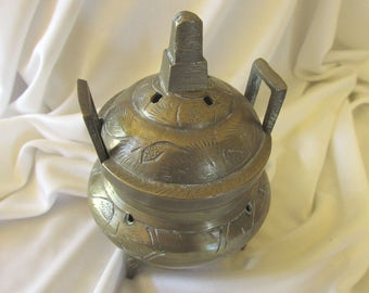 Vintage Brass Incense Burner Made and Purchased in China 1950's