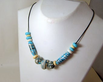 Turquoise Glass Beaded Necklace with Black Leather Cord