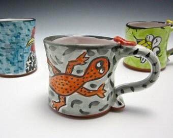 Small Petite Ceramic Coffee Mug - Pottery Tea Cup - Salamander - Gift for Him - Clay Majolica Mug- Orange Grey - 9 oz ounces - Child's cup