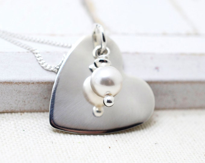 Dainty Heart Jewelry, Anniversary Gift, Personalized Jewelry, Valentine's Day Gift, Mom Valentine Gift, Date Necklace, Pearl Necklace, Bride