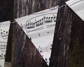 Small Music Notes Banner - Vintage Sheet Music Decoration - Paper Bunting Garland - 3 inch Triangles - Classroom - Music Teacher Gift