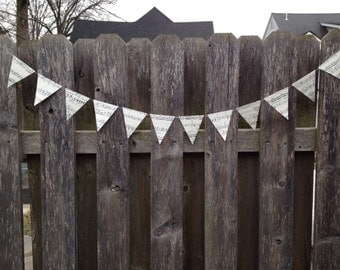 Handmade Party Supplies - 10 Vintage Sheet Music Garlands - Music Note Bunting - Wedding Decorations - Classroom Decorations