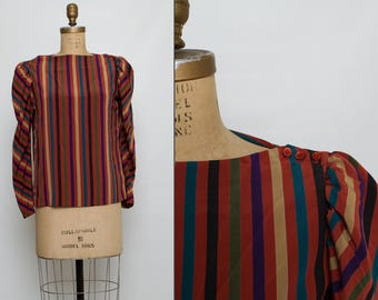 vintage 1970s striped blouse