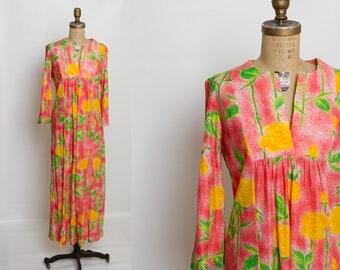 1970s yellow rose caftan dress | vintage kaftan