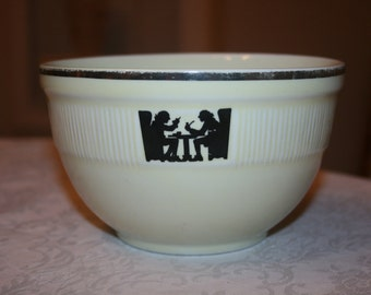 Vintage Hall Silhouette Tavern Pattern Round Serving Bowl Mixing Bowl