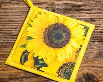 Sunflower Photo Pot Holder, Hot Pad, Handmade