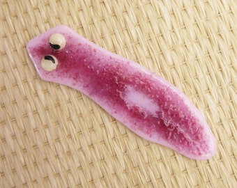 Fused Glass Planarian Pendant Pin Magnet Ornament