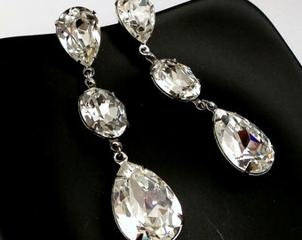 bridal wedding jewelry earrings Swarovski clear white oval and teardrop foiled fancy rhinestone pendant three drop post statement earrings