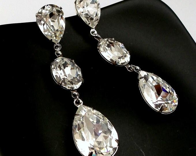 bridal wedding jewelry earrings Swarovski clear white oval and teardrop foiled fancy rhinestone pendant three drop post statement earrings