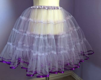Purple tulle petticoat with purple ribbon trim