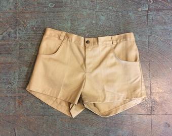 Vintage 70s high waisted denim jean shorts // size 13 // hot pants daisy dukes booty shorts // festival concert spring summer