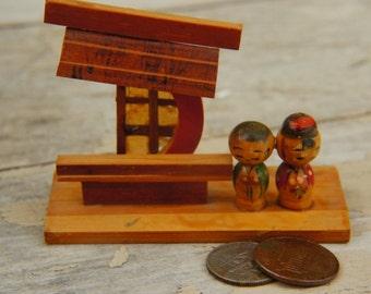 Vintage 60s-70s Japanese Kokeshi Doll Diorama Wooden Peg Dolls Miniature Asian Boho Folk Hippie