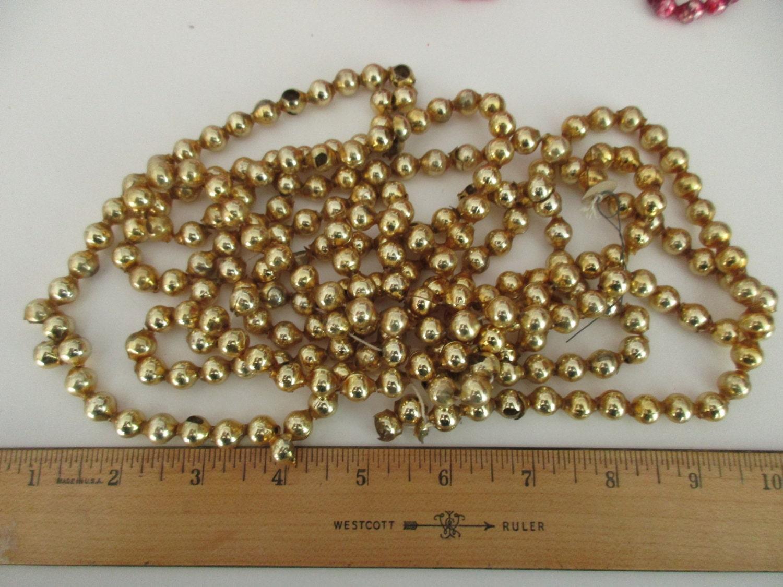 vintage gold mercury glass bead garland 8 ft japan 3 8in