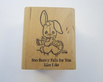 vintage rubber stamp - Precious Moments RABBIT - Sno Bunny Falls for You Like I do